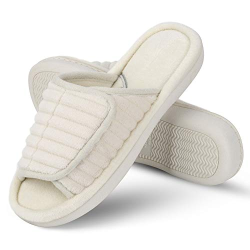 Adjustable Open Toe - DL Dena Lives Men's Adjustable Open Toe Memory Foam Slippers, Women's Washable Home Indoor Slippers House Shoes Beige