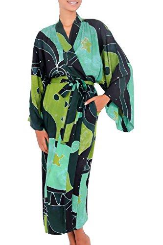 NOVICA Green and Black Women's Batik Robe, Emerald Birds' (One Size Fits Most) ()