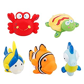 Baby Bathing Toy, 5Pcs Floating Soft Silicone Animals Water Tub Toys Squirts Game in Bathtub Bathroom Pool Bath Time for Kids Toddler Boys Girls