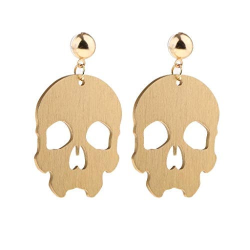 1 pair Earrings Gold Tone Skull Face Halloween Party Lady Punk Rock Costume Jewelry -