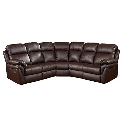 Milton Greens Stars Frankfurt Sectional Sofa with 2 Recliners, Brown,