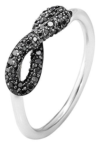 Georg-Jensen-Damen-Ring-925-Sterling-Silber-Rundschliff-Sehr-Kleine-Einschlsse-Vs1-Schwarz-Diamant