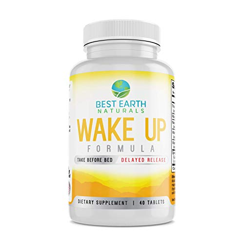 Wake Up Formula, Natural Supplement Taken at Bedtime and Works While You Sleep for Delayed Time Release Energy in Morning. Natural Alternative to Coffee and Morning Alarm Clock 40 Count (Benefits Of Sleeping Early And Waking Up Early)