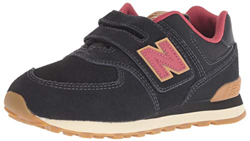 New Balance Boys' Iconic 574 Hook and Loop Sneaker Black/Earth red 3 W US Infant