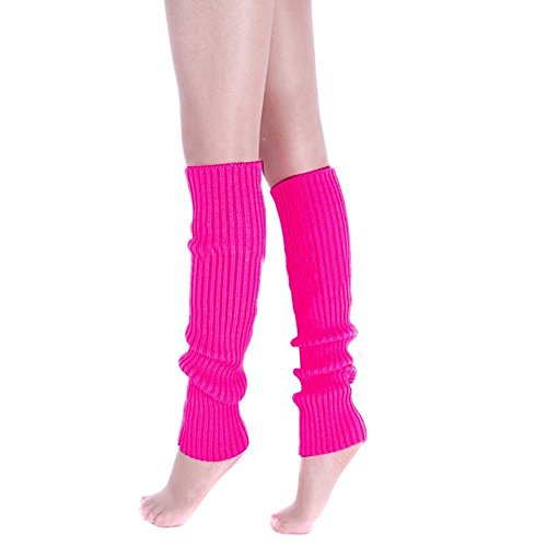 The 80s Clothes For Womens (Ewandastore Candy Color Women 80s Winter Leg Warmers Knitted Wool Crochet Long Boot Socks Hot Pink)