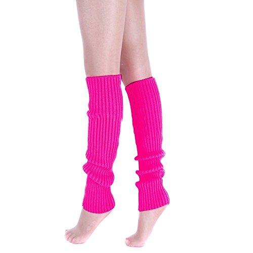 Leg Warmers 80s (Ewandastore Candy Color Women 80s Winter Leg Warmers Knitted Wool Crochet Long Boot Socks Hot Pink)