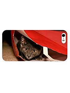 3d Full Wrap Case for iPhone 5/5s Animal Cat Hidding In The Ba