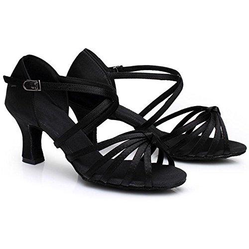 Eastlion Sandals Shoes Shoes Practice Ballroom Tango 7cm Latin Dance Salsa Heel Dance Heel 40 Women Black for ABrqtA