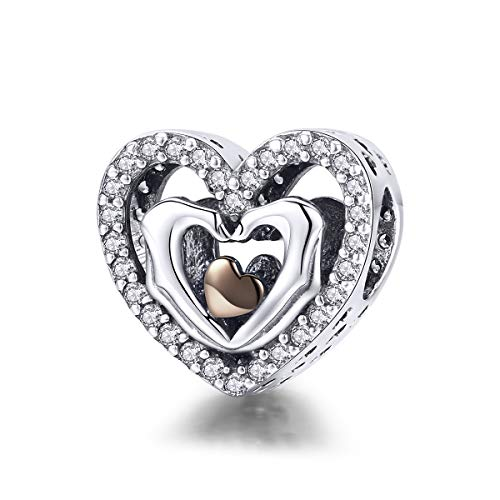 WOSTU Heart Charm 925 Sterling Silver Forever Family Bead Charms for Bracelets Necklace Gifts for Women
