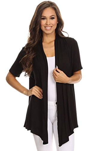 Casual Basic Short Sleeves Open Front Draped Solid Cardigan/Made in USA Black 3XL by Fashion Stream