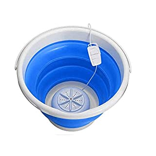 Kacsoo Mini Portable Washing Machine with Foldable Tub, 3 in 1 Personal Rotating Ultrasonic Turbines Compact Washer USB Powered for Camping Apartments Dorms RV Business Trip Clothes