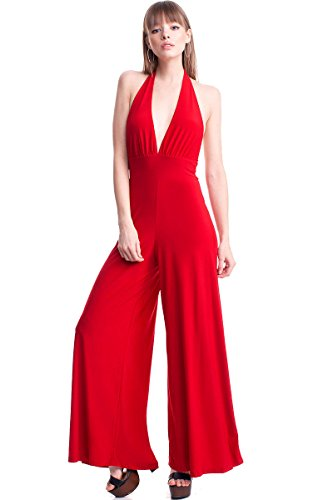 Symphony Women's Halter Style Wide Leg Jumpsuit (Small, Red) (Halter Catsuit)