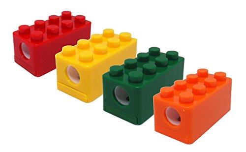 Brick Block Pencil Sharpeners Bulk - Connects Stacks Building Blocks for Kid School - Smart Handheld Manual Assortment Pack Jumbo (4 pcs, Assorted Colors) (Brick Station Red)