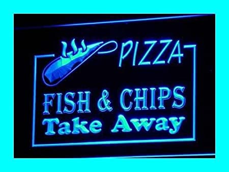 AdvPro Sign Cartel Luminoso ADV PRO i138-b OPEN Pizza Fish ...