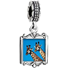 Silver Plated Two Giraffes Photo Family Mom & Baby Girl & Dad Dangle Bead Charm Bracelet