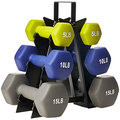 AmazonBasics 60 Pounds Neoprene Workout Dumbbell Weights with Weight Rack - 3 Pairs of Dumbbells