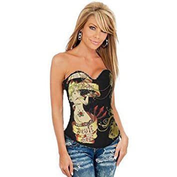 8cd7672126 K Dress New Hot Magic Printed Rhinestone Corset Yellow Sexy Lingerie   Amazon.co.uk  Sports   Outdoors