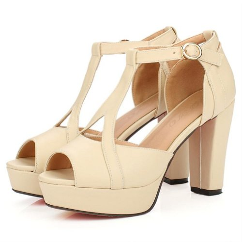 Carol Shoes Fashion T Strap Womens Platform High Heel Peep Toe Sandals Beige mXaCu5p