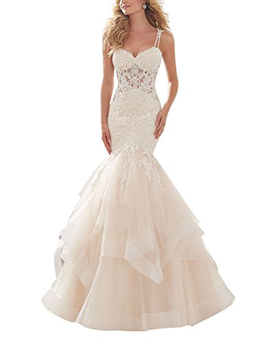 Spaghetti Strap Applique Beaded Wedding Dress Mermaid Backless Court Train 2018 Tulle Bridal Gown Dresses White ()