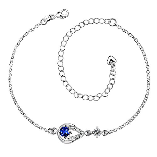 - Huangiao Women's 925 Silver Chain Personality Pierced Water Droplets Anklet Foot Bracelet Sandals Beach Feet Diamond Anklet (Blue)