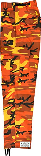 Army Universe Orange Camouflage Poly Cotton Cargo BDU Pants Camo Military  Fatigues with Pin (Large 3faa53f0af4