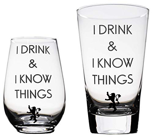 I Drink and I Know Things Beer Glass & Wine Glass Game of Thrones-Inspired Combo by Momstir - the Golden Lion Great for Drinking Games Wine & Beer Gifts - Him and Her (Fun Games For A Bachelorette Party At Home)