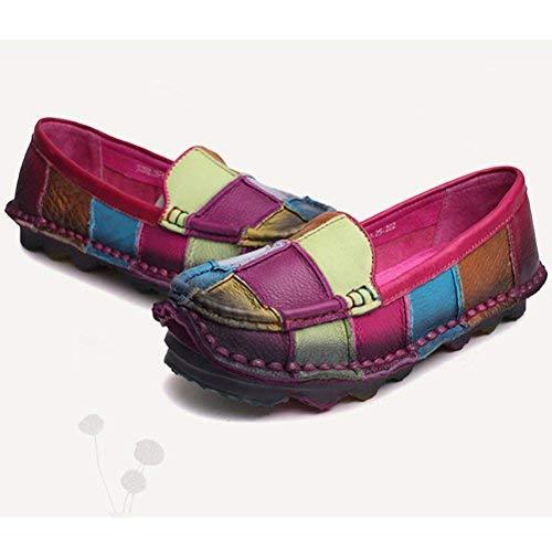 Zapatos Mocasines Tamaño Color Punta rose Pisos Zapatillas De blue 4 Cómodas Redonda 1 4 1 Cuero Con Uk Las Mocasín Mujeres Fuxitoggo Red color Style Contraste 5 HPzwPdq