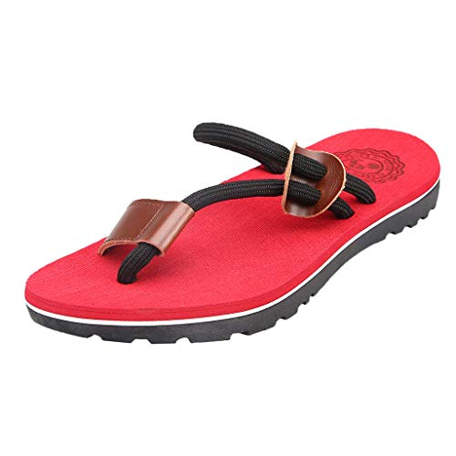 (BOOMJIU Mens Flip Flops,Leather Thong Sandals with Arch Support Lightweight Beach Slippers Red)