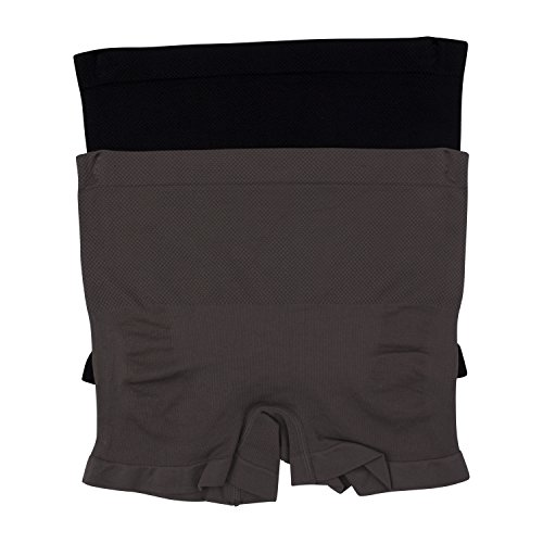 - Kathy Ireland Womens 2 Pack Ruched Back Seamless Tummy Control Boyshort Shaper Smokey Topaz and Black X-Large