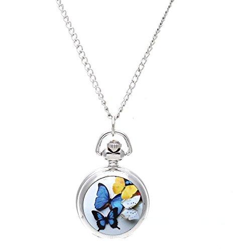 SODIAL(R) Lady Locket Pendant Quartz Pocket Watch Necklace Chain Vintage Butterfly [Watch]