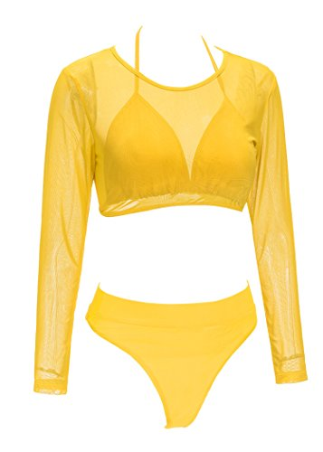226d5cb735b QINSEN Women Sexy Knotted Front Cropped Top Bikini Sets Thong Swimsuit  Yellow M