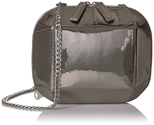 The Fix Tiffni Geometric Hard Shell Chain Strap Crossbody Bag, Pewter Metallic