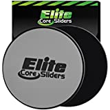 Core Sliders - Set of 2 Exercise Sliding Discs - Great for Crossfit, Cross Training, Abdominal Workout Routines - Dual Sided Design Works on Carpet or Hard Floors - Silver