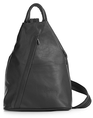 Rucksack Bag ALEX Soft Unisex Duffle Italian Backpack Convertible Leather Strap Grey Small Dark LIATALIA aUHqwpn