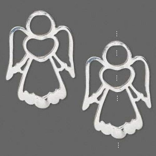 2 Silver Plated Pewter Angel Frame Bead Holders / 31X22Mm