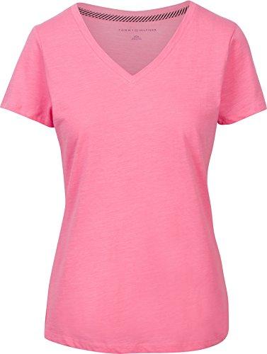 Tommy Hilfiger Womens V-Neck Solid Color Logo T-Shirt - L - - Hilfiger Women Tommy