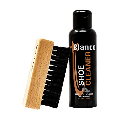 Blanco Shoe Cleaner Kit for all Shoes, Suede Fabric Cleaner Kit with Brush and Powerful (ALL NATURAL) Foaming Detergent Cleans Suede, Tennis Shoes, Leather Shoes, and more - Blanco Shoe Cleaner (Best Suede Shoe Cleaner)