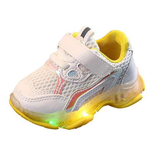 Lite Waders - ONLY TOP Teen Baby Girls Boys Anti-Slip Luminous Stars Shoes,for 1-6 Years Old,Kids Stylish LED Lights Up Sneakers Yellow