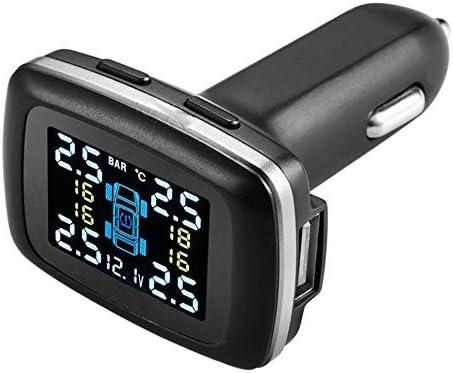 Wenjie Smart Auto TPMS Echtzeit Reifendruckkontrollsystem Zigarettenanz/ünder Digital LCD Display Auto Sicherheits Alarm System