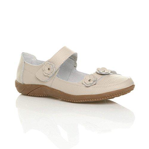 Fleur Confort Chaussures Marche Pointure Babies Cuir Plat Beige Femmes Sv1yRApv