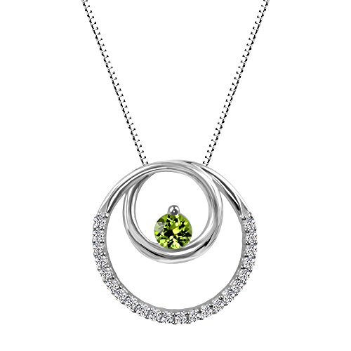 Sterling Silver 925 Peridot and Lab-Created White Sapphire Circle Pendant Necklace, 18