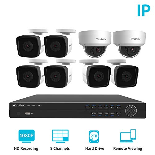 LaView 2MP 1080P IP 8 Camera Security System, 8 Channel 1080P IP PoE HDMI NVR 2TB HDD 2 Dome and 6 Bullet Weatherproof White Surveillance Camera Kit