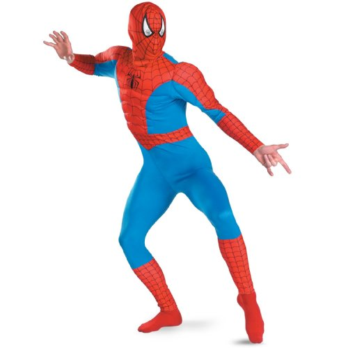 Disguise Men's Marvel Spider-Man Classic Muscle Costume, Blue/Red, X-Large