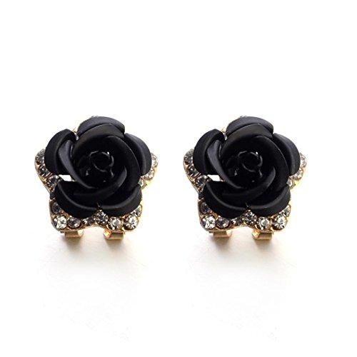 Earrings Studs for Women, Staron Fashion Bohemia Rose Flower Crystal Rhinestone Earrings Elegant Eardrop Jewelry (Pearl Red Gold Earrings)