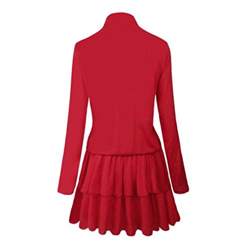 DOLDOA Mujeres Primavera Verano de manga larga Partido Mini vestido corto Rojo