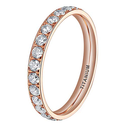iTungsten 3mm Rose Gold Titanium Rings for Women Men Eternity Wedding Engagement Band Cubic Zirconia Inlay Comfort Fit
