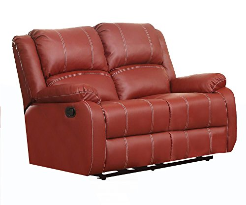ACME Zuriel Red Faux Leather Reclining Loveseat - Acme Furniture Leather Loveseat