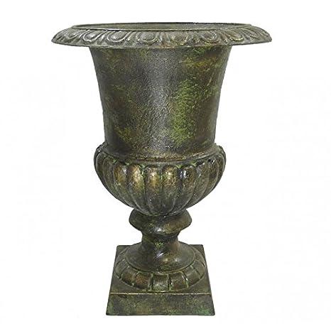 L\'Héritier Du Temps Vase Vasque Jardiniere en Fonte Vert Anglais Style  Medicis Pot de Fleur 32x32x41cm