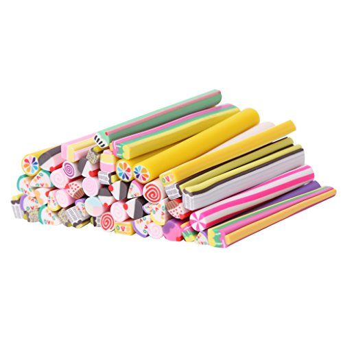 Lulujan 50pcs 3D Nail Art Stickers Set Fimo Slices Cake Biscuit DIY Manicure Tools Fimo Canes Sticks Rods Stickers Gel Tips Decor