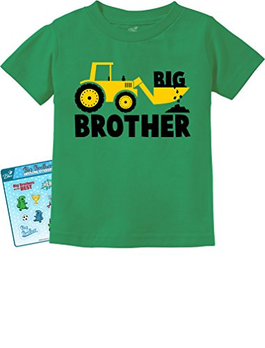 TeeStars - Big Brother Gift for Tractor Loving Boys Toddler/Infant Kids T-Shirt 3T Green (Big Sister Big Brother Shirts compare prices)